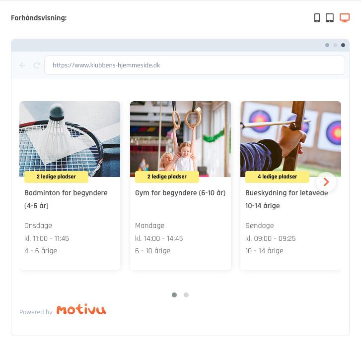 På Motivu.dk kan I se en forhåndsvisning af den digitale tilmelding på jeres hjemmeside